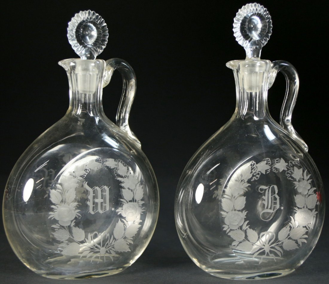 Pair of Decanters (1) Bourbon (1) Whiskey