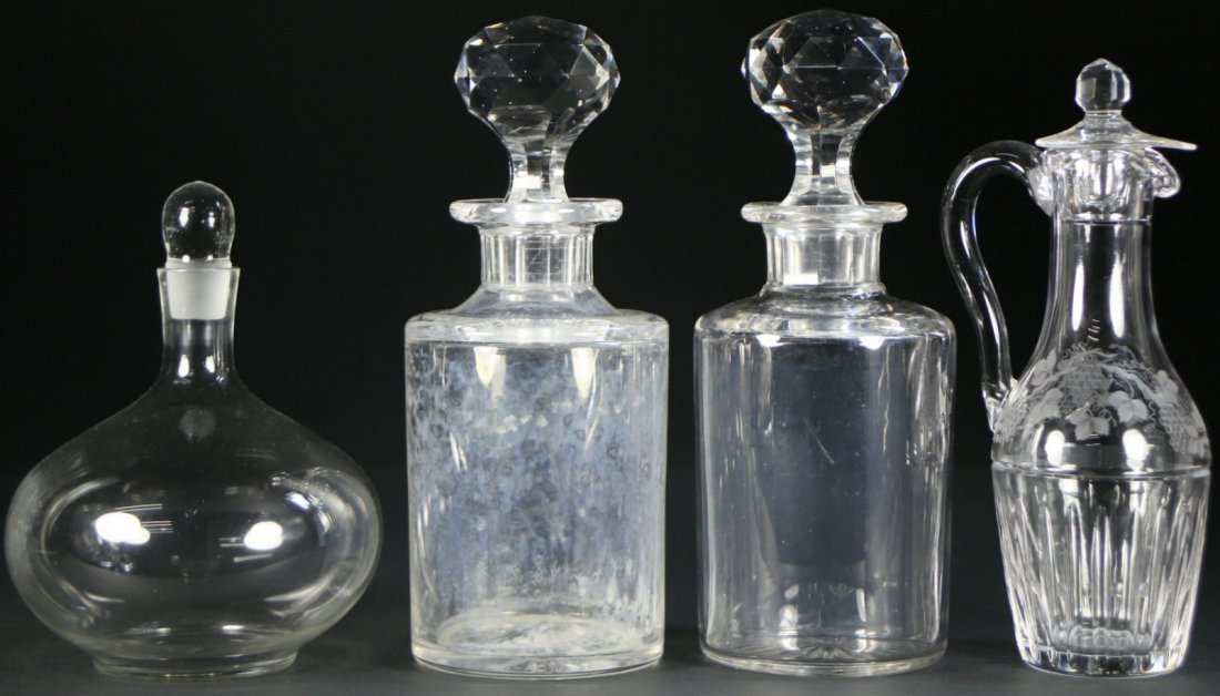 (4) cut crystal pieces, matching decanters, etc.