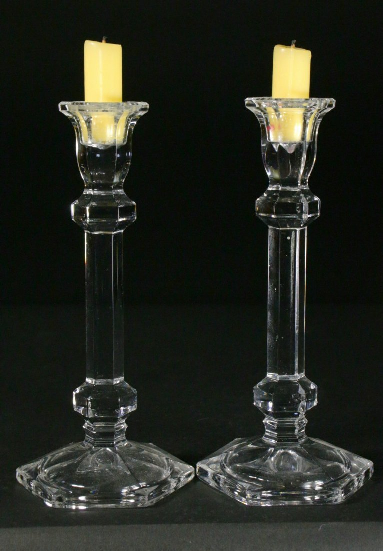 (2) Crystal Candlestick Holders