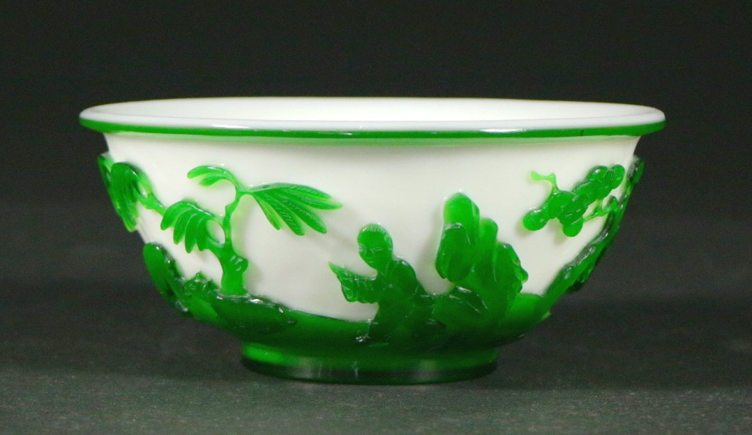 Peking Glass Bowl, Green On White, Mid-19th C.