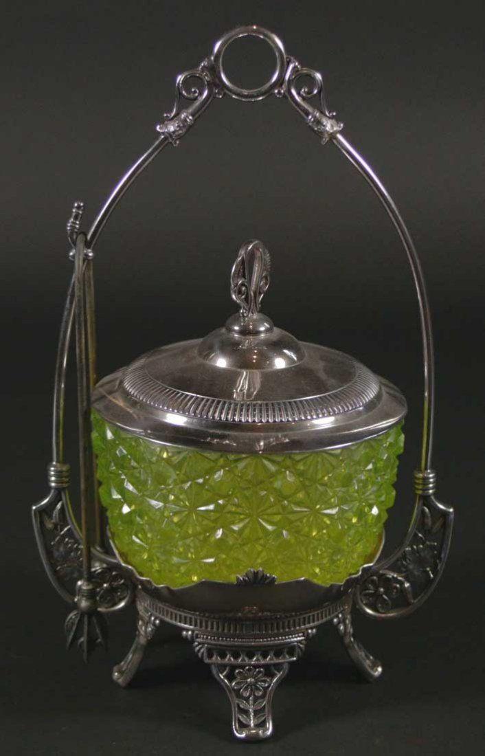 Pickle Jar Lidded w/tongs & carrier, green glass