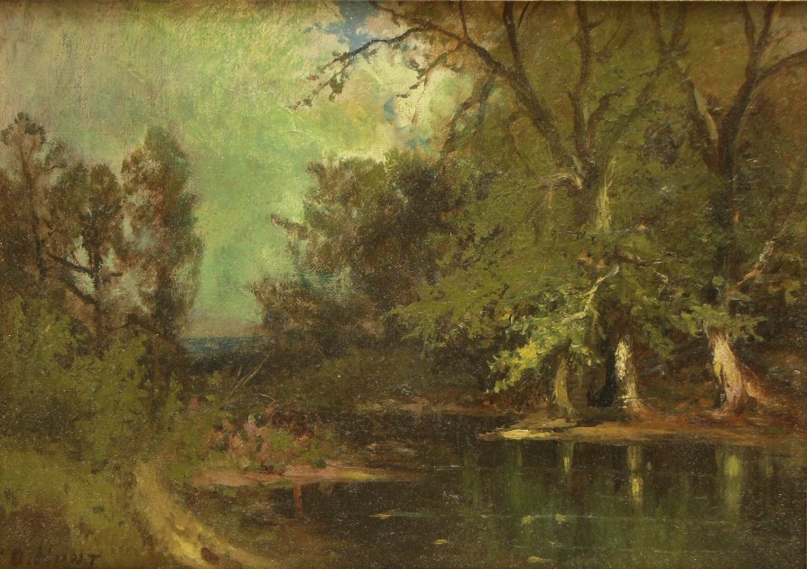 O/C C.D. Hunt, Landscape With Stream