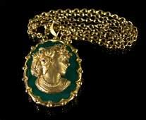 Portrait sculpture, gold, chalcedony, chain