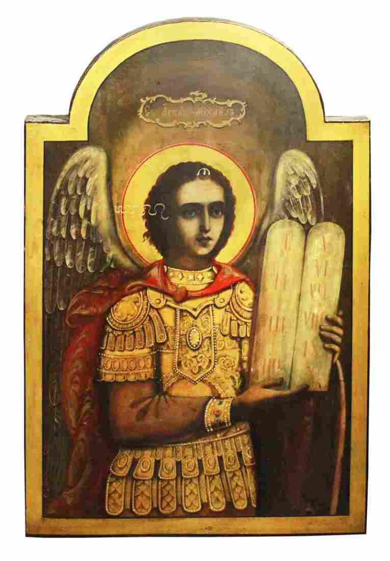 Icon Russian, St. Michael, painted wood, late19th