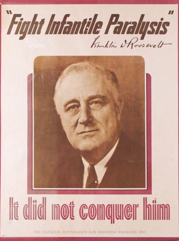 """Poster, """"Fight Infantile Paralysis,"""" FDR, 1946"""