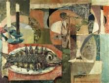 O/C 'Fish Dinner' by Claude Venard