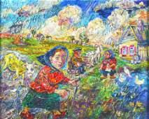 O/C, 'Peasant Farm Scene' by David Burliuk