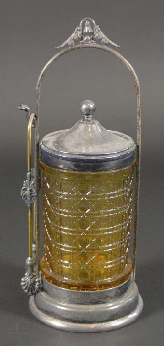 Pickle Jar Amber glass jar, tongs, carrier