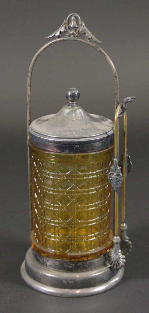 Pickle Jar Amber glass jar, tongs, carrier - 2