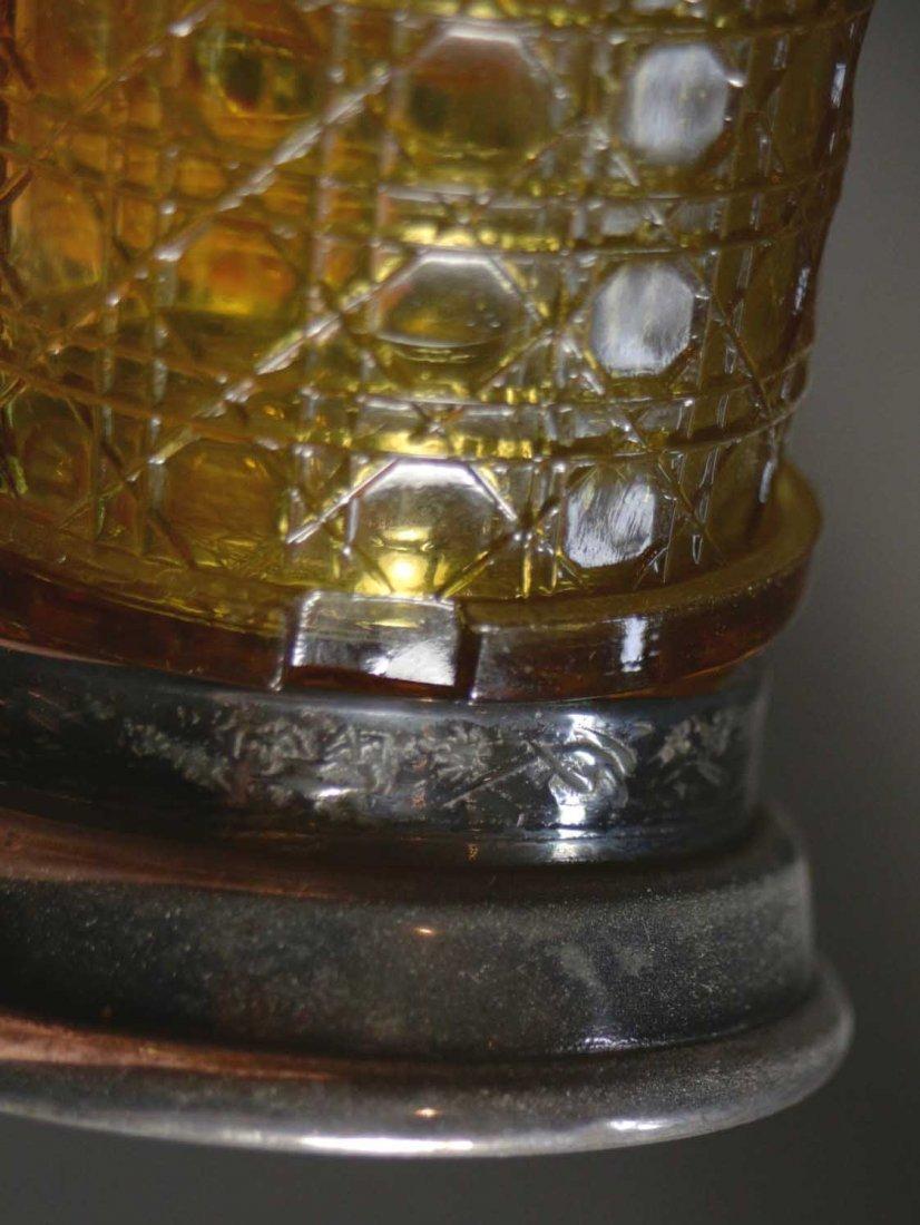 Pickle Jar Amber glass jar, tongs, carrier - 7