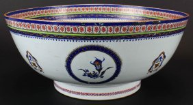 Chinese Export Porcelain Decorated Punch Bowl