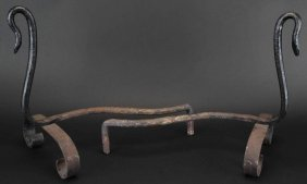 (2) Pair Andirons, Snake Form, 19th Century
