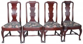 (4) Set Chairs Queen Anne, Early 19th C.