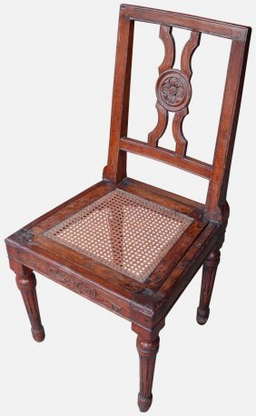 Cane Seated Chair, French, C. 1840