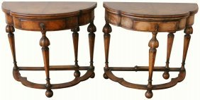 Pair William & Mary Style Console Game Tables