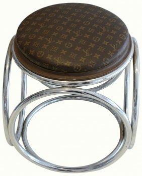 Chrome Stool, Louis Vuitton Fabric, C.1960-70