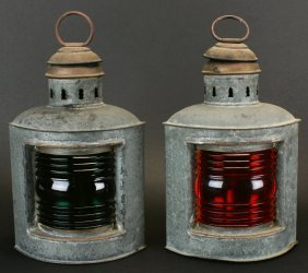 Green And Red Nautical Lanterns.