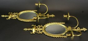 Pair Brass Mirror Sconces, Candle Holders
