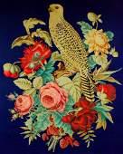 "Needlework (54""x48"") Parrot in Silk, c 1880"