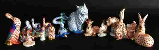 (15) Pcs Herend Porcelain Figurines