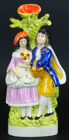 Staffordshire Figural Spill Vase, Couple