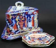 (2) Plates, Ironstone Imari Covered Cheese Plate