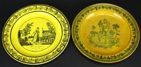 (2) Creil Plates, French Canary Ware