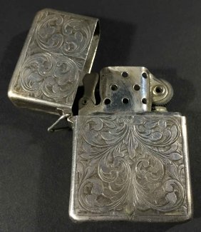 800 Silver Hand Chased Zippo Lighter
