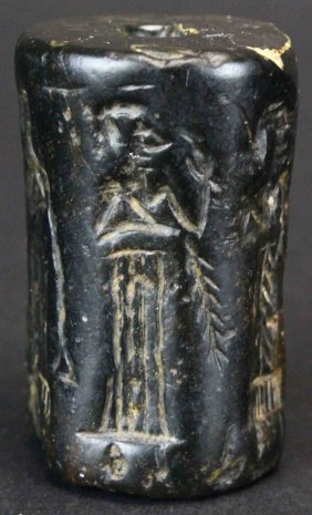 Mesopotamian Black Steatite Cylinder Seal