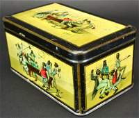 Black Americana Tin Box, Billiard Players, C 1900