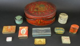 Painted Tin Basket & Advertising Tins, C.1900-30