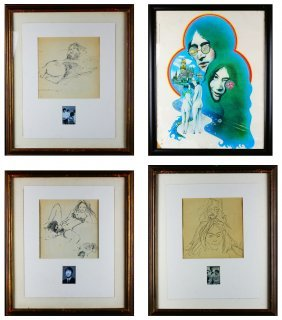 (5) John Lennon, Lithograph Copies And Poster