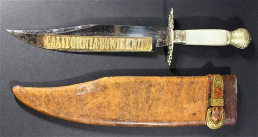 Large California Bowie Knife w MOP Grips