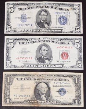 3 Pieces, Money, Silver Certificates, 1934-63