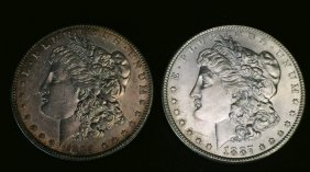 1889-s Morgan $1 Xf43, 1887 Morgan $1 Ms62,