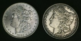 1883 (ms62) & 1883-o (ms63) Morgan $1