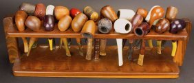 Walnute Pipe Rack, W/24 Pipes