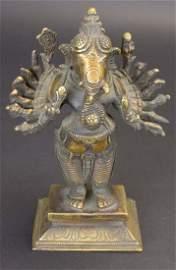 Bronze, 16 Arm Ganesha Statue, Balinese