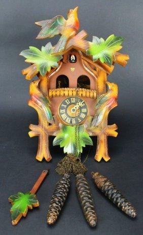 Clock, Wooden Cuckoo, Bavarian, 1940s