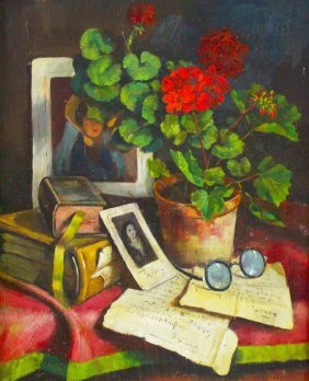 O/c Still Life W/geraniums, Arisztid Szendy