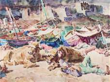 W/C, Oxen and Fishermen, Walter Louderback,