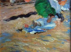 O/c Woman On Beach W/umbrella, S. Indistinctly Ll