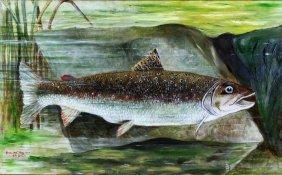 O/c Trout Portrait, River Penk, 1910