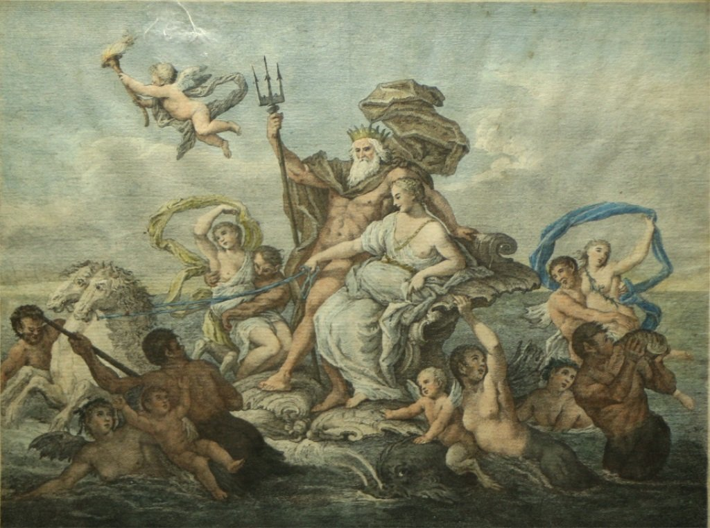 Engraving of Neptune by Sebastiano Conca
