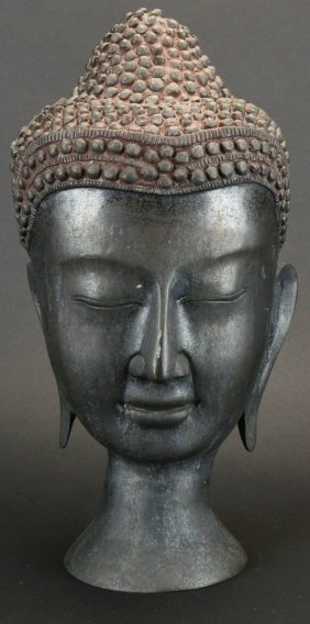 Indo-chinese Sleeping Buddha Head Sculpture