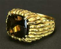 Ring, Man's Smokey Quartz, S & F, 18 K Gold