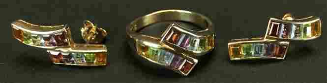 14K Gold Ring, Earrings multi-stones