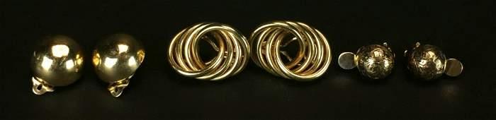 (3) Pair Earrings, Gold, 14K, 9K, Clip On