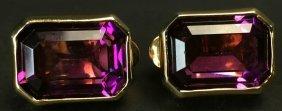 Pair Earrings, Amethyst, Gold Plated