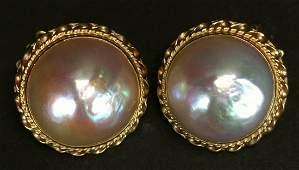 Earrings, 14 K Yellow Gold, Pearl